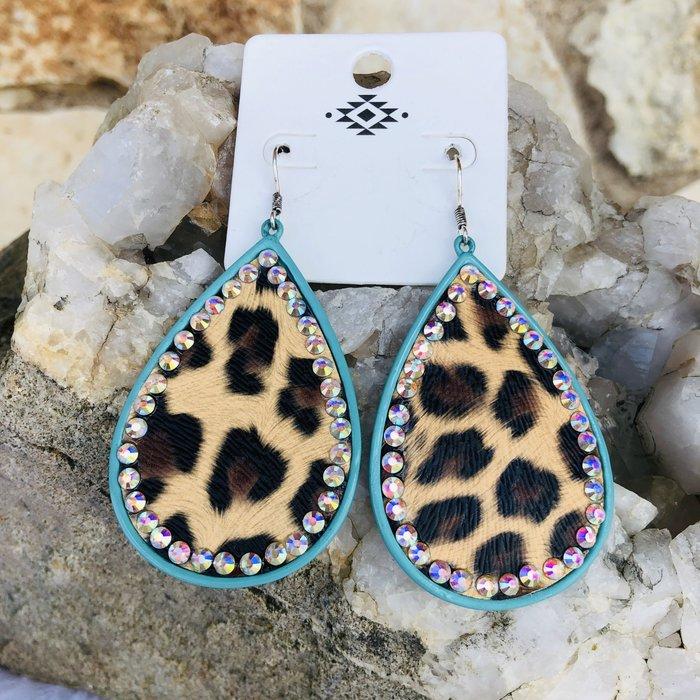 Turquoise Trim AB Leopard Teardrop Earrings