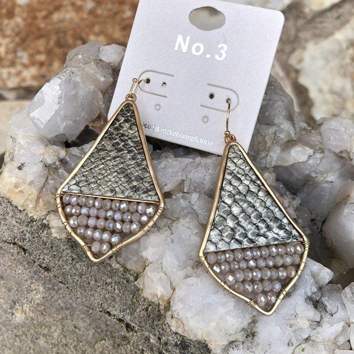 Silver Snake Skin Teardrop Wire Beaded Earrings