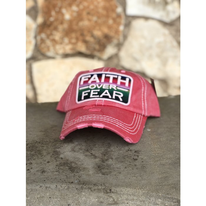 Faith Over Fear Serape Vintage Coral Hat