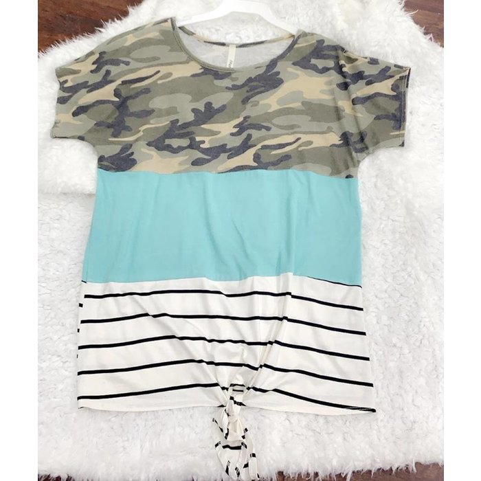 Camo Turquoise Striped Front Tie Top