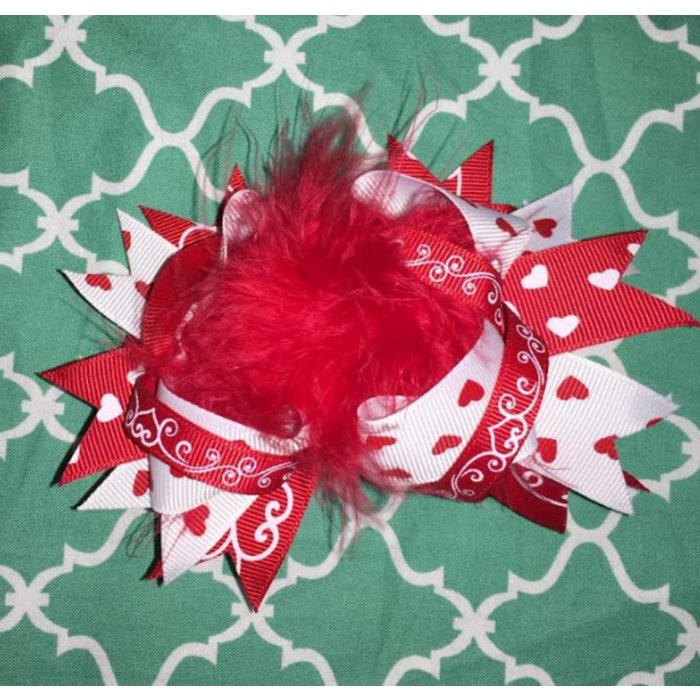 Red and White Heart Bow with Ostrich Feather