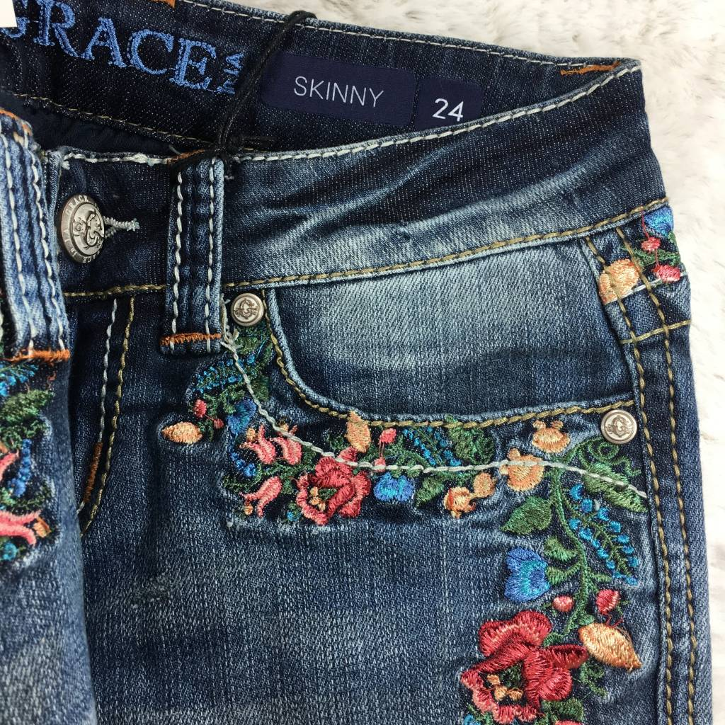 the car wash_Skinny Rose Garden Embroidered Jeans - TheBlingBoxOnline.com