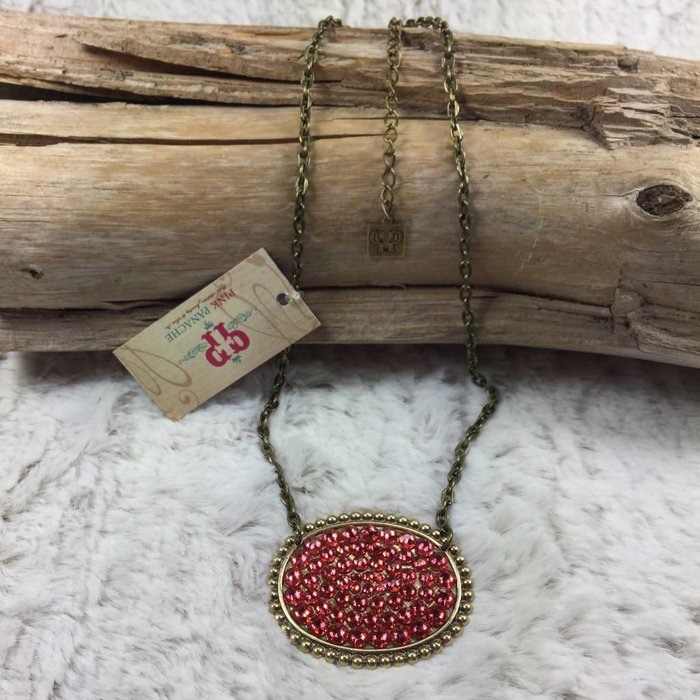 Bronze Sideways Oval with CORAL Crystals on chain