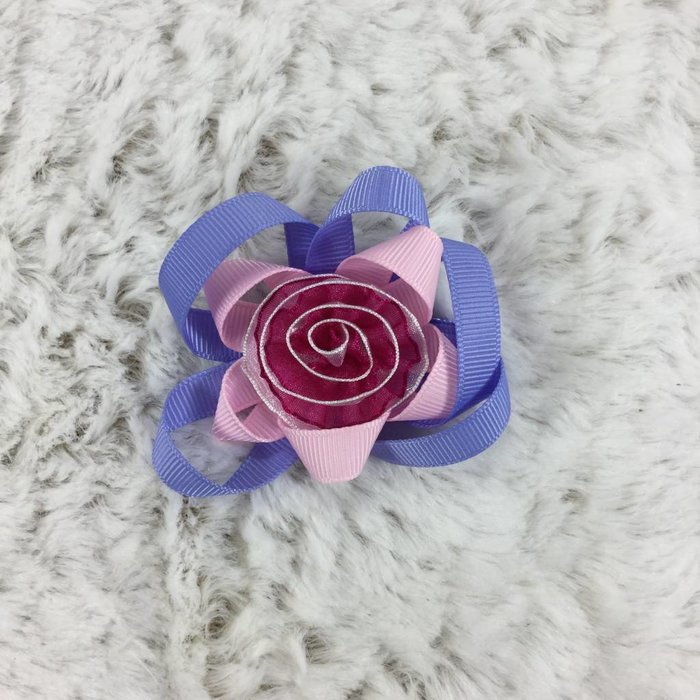 Pink Rose with Purple Bow