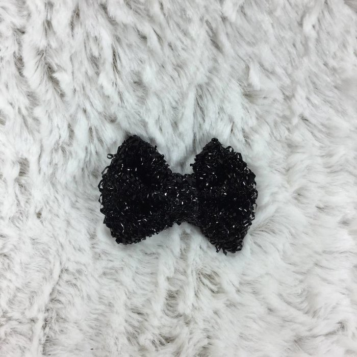 Small Black Glitter Bow
