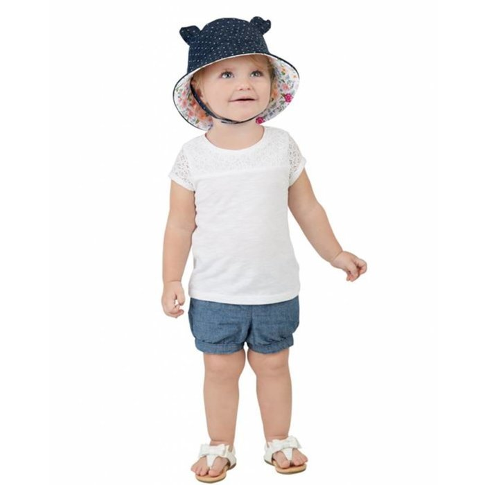 Chambray Floral Bear Sun Hat