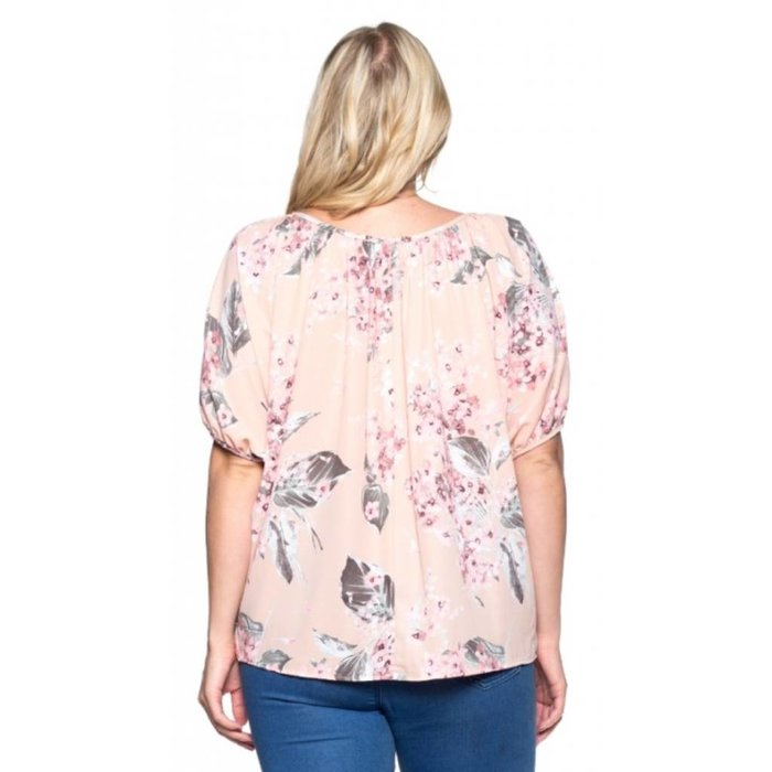 Floral Peach Button Up Top