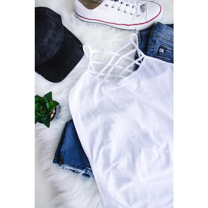 White Criss Cross Tank - ONE SIZE