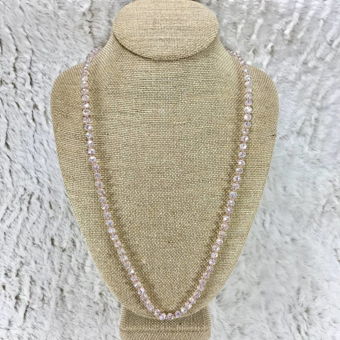 Pink Panache Rose Opal Crystal Knotted Necklace - Long