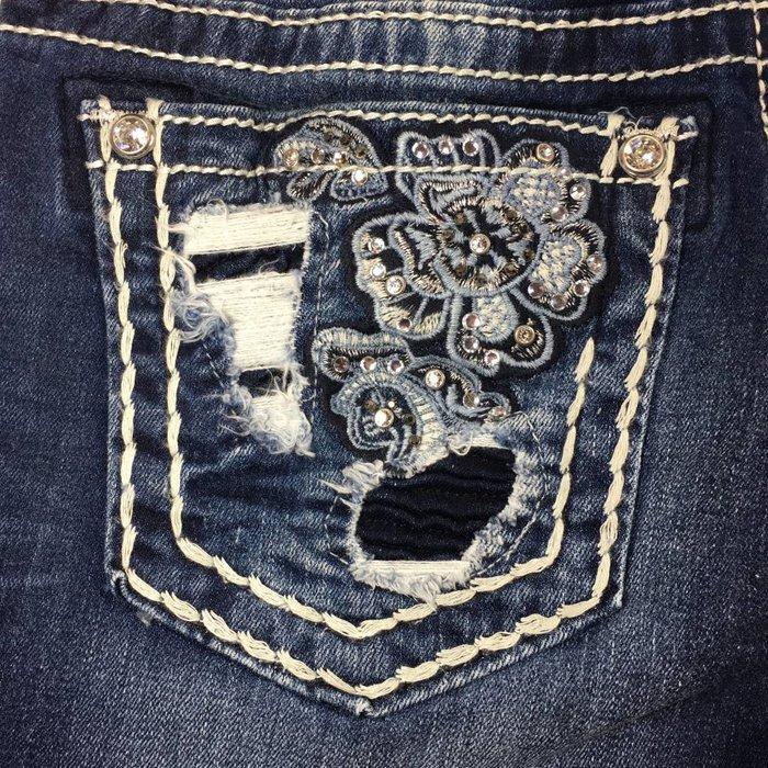 Slim Boot Floral Distressed Pocket