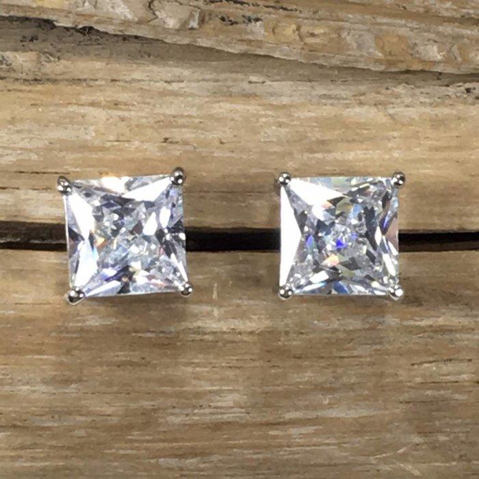 Medium Square Cubic Zirconia Stud Earrings
