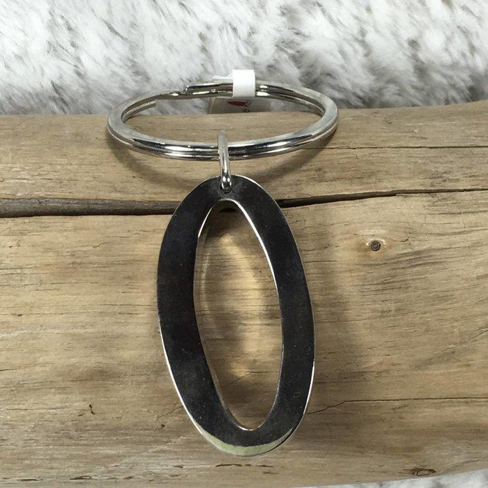 Large Chrome Key Chain O