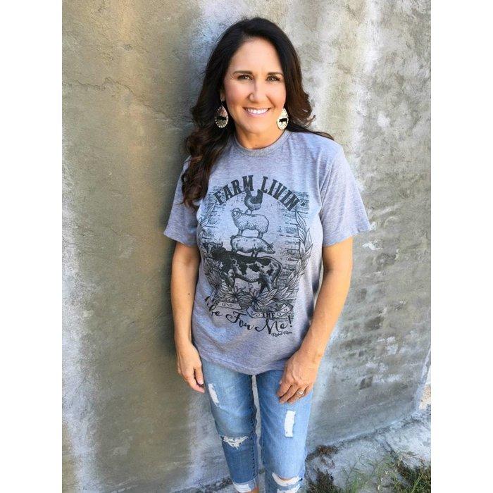 Farm Living Grey Crew Neck T-Shirt