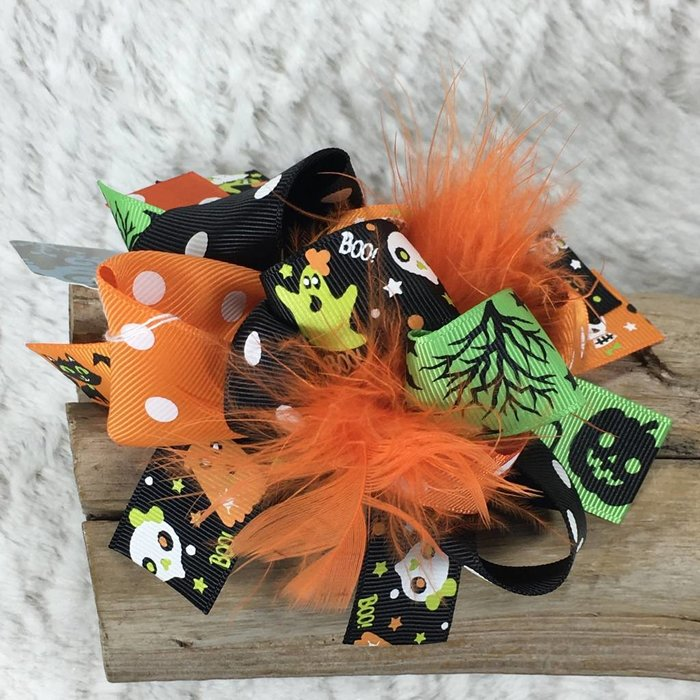 Halloween Bow with Orange Ostrich Feathers