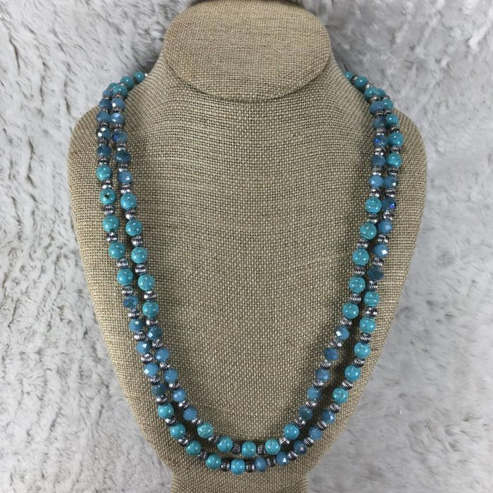 Long Turquoise & Silver Beaded Necklace Set