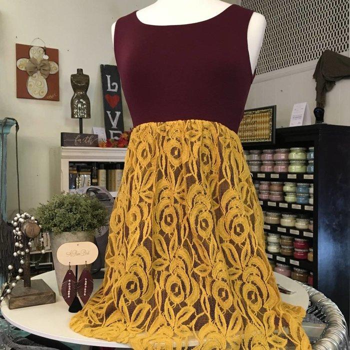 Lace Bottom Shift Dress