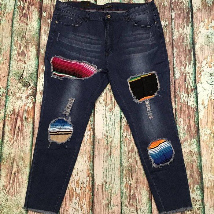 Serape Patch Skinny Jeans - SZ 24