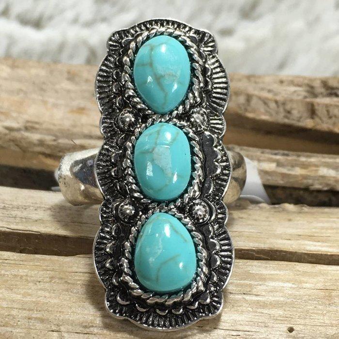 Long Turquoise Boho Stretch Ring