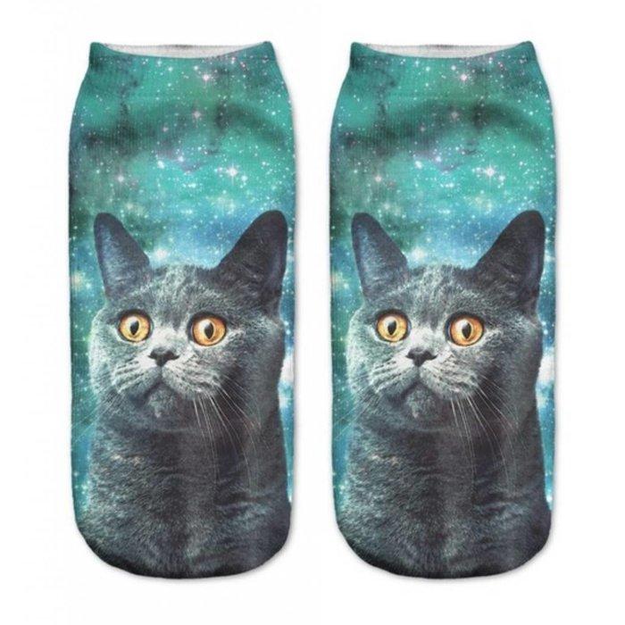 Blue Cat Ankle Crazy Socks