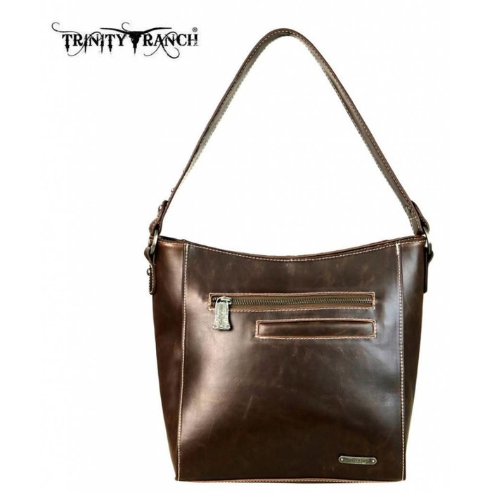 Turquoise & Black Trinity Ranch Tooled Leather Collection Hobo