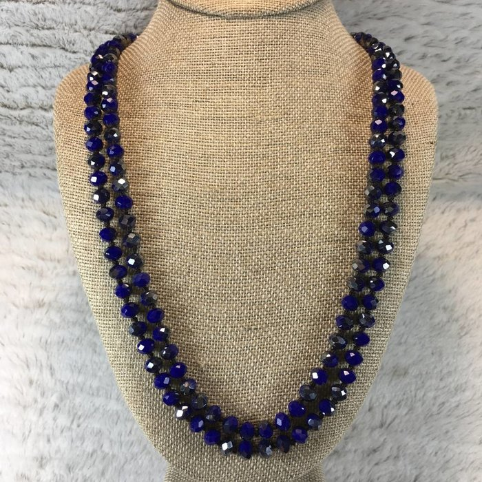 Royal Blue Crystal Knotted Long Necklace
