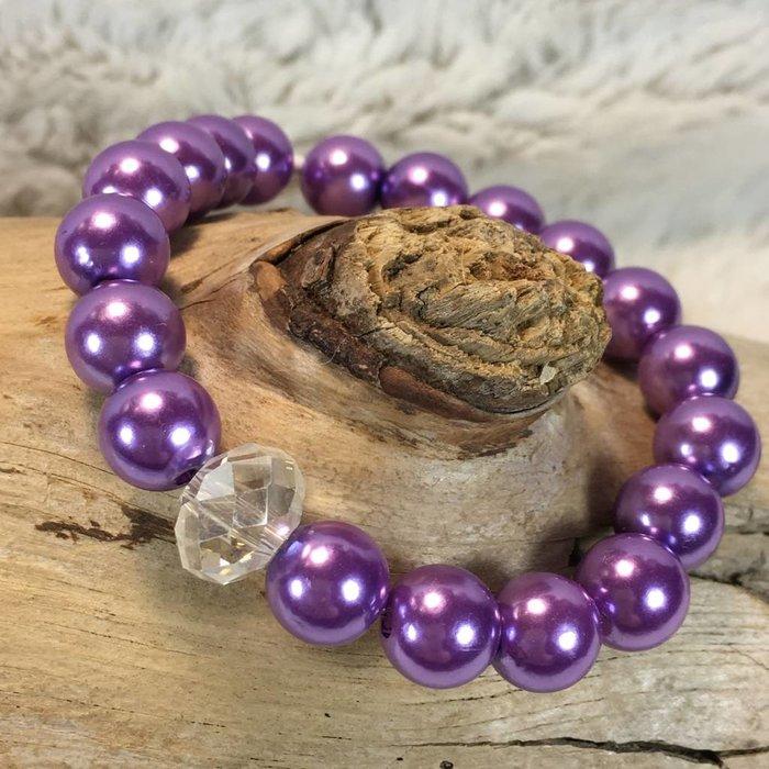 Purple Pearl Stretch Bracelet