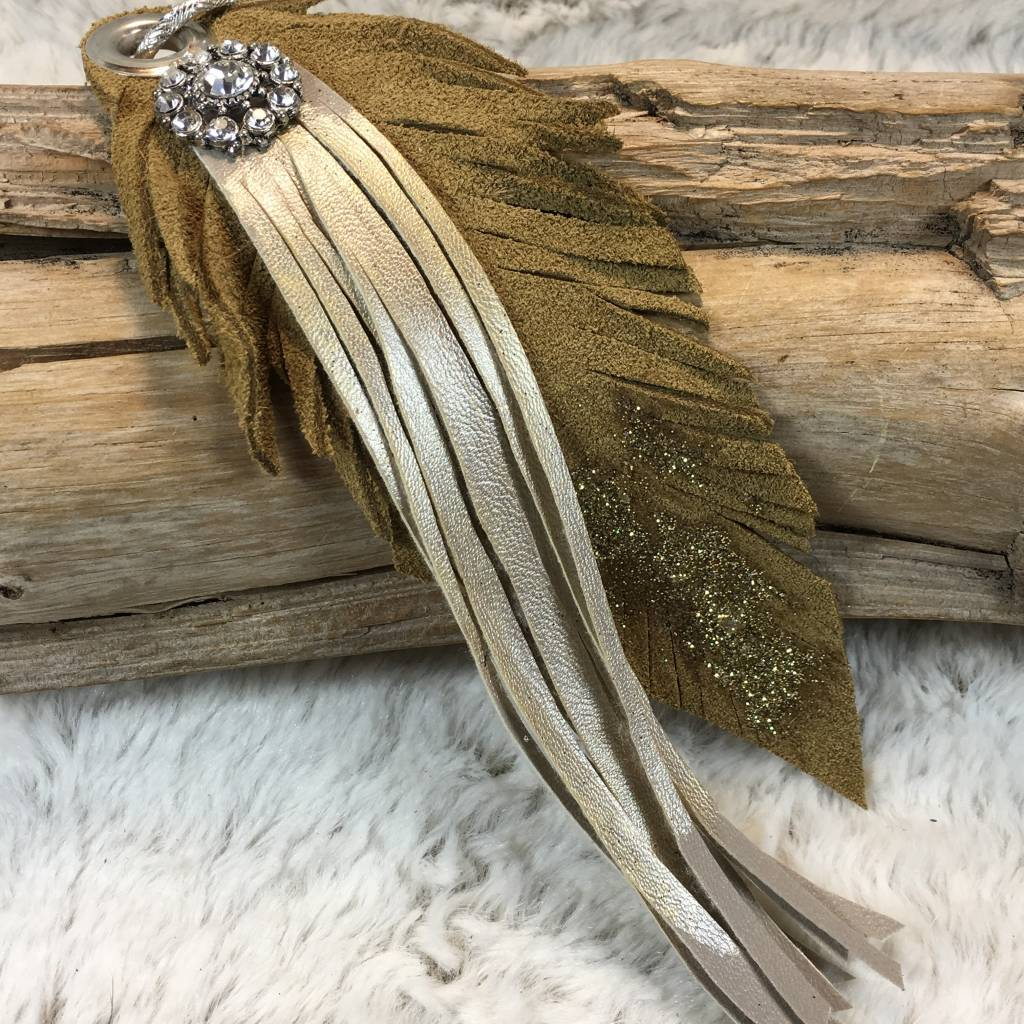 A Rare Bird Leather Tan Fringe Glitter Keychain - TheBlingBoxOnline.com 1ea5c3a97