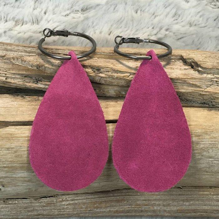 Fuchsia Leather Teardrop Earrings