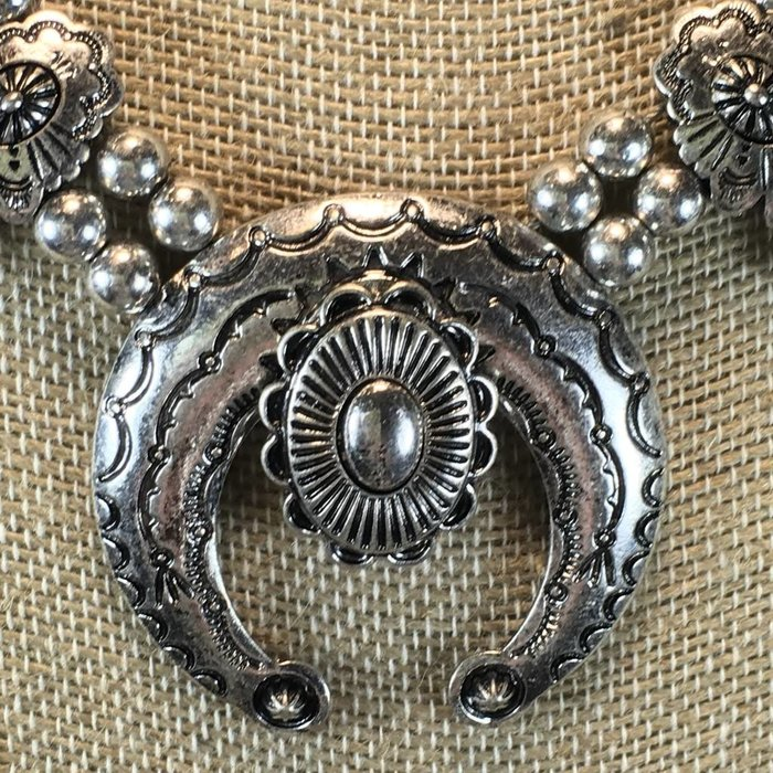 Silver Flower Concho Squash Necklace Set