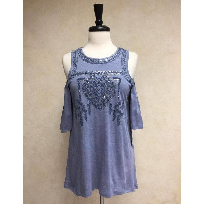 Cold Shoulder Denim Blue Knit Top