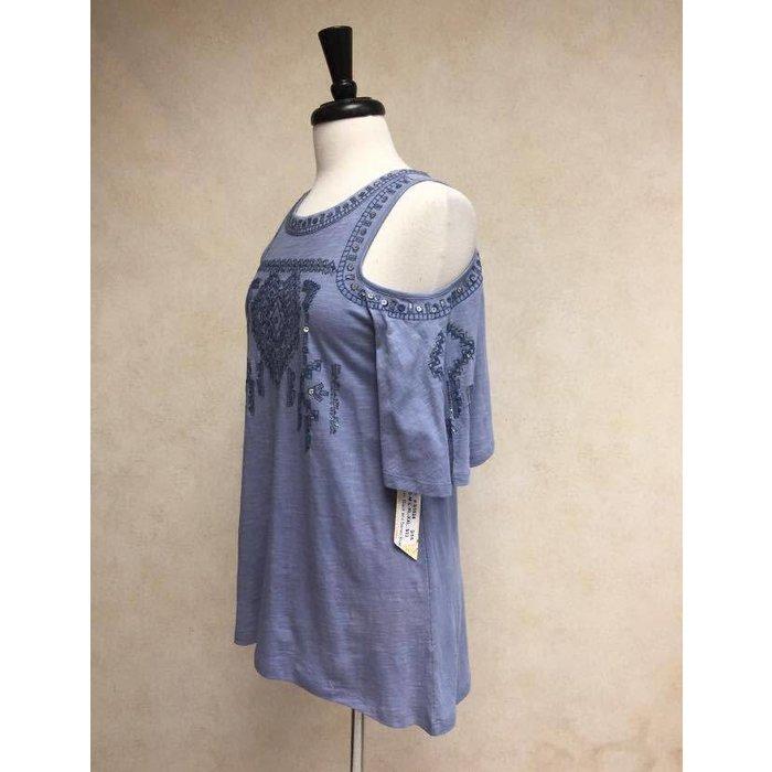 Cold Shoulder Denim Blue Knit Top