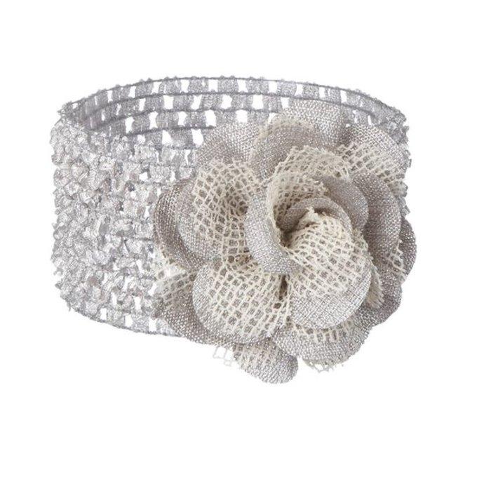 Silver Flower Baby Headband