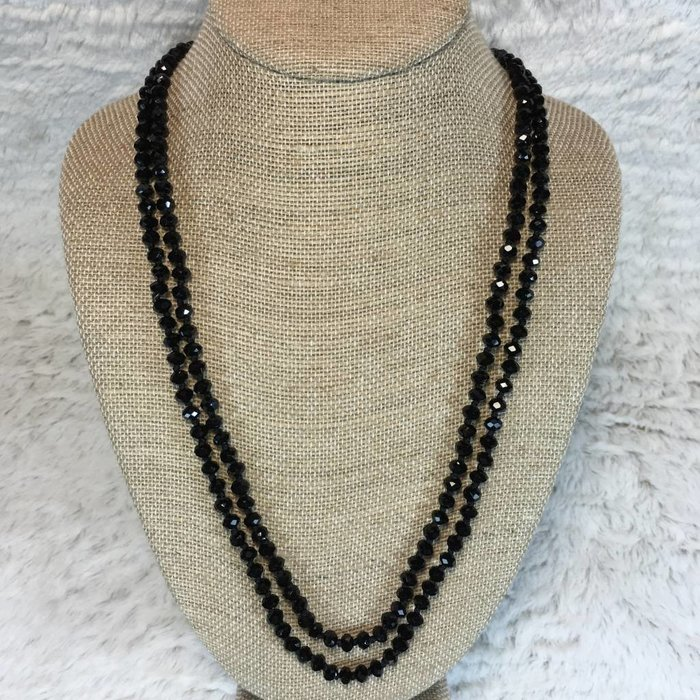 "Medium Black 60"" Crystal Knotted Necklace"