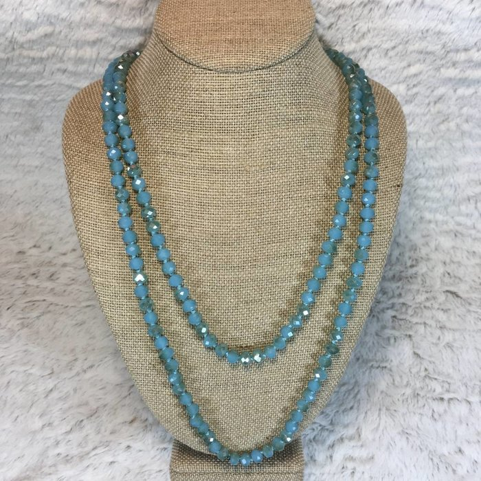 """Light Turquoise 60"""" Crystal Knotted Long Necklace"""