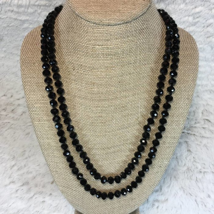"Black 60"" Crystal Beaded Necklace"