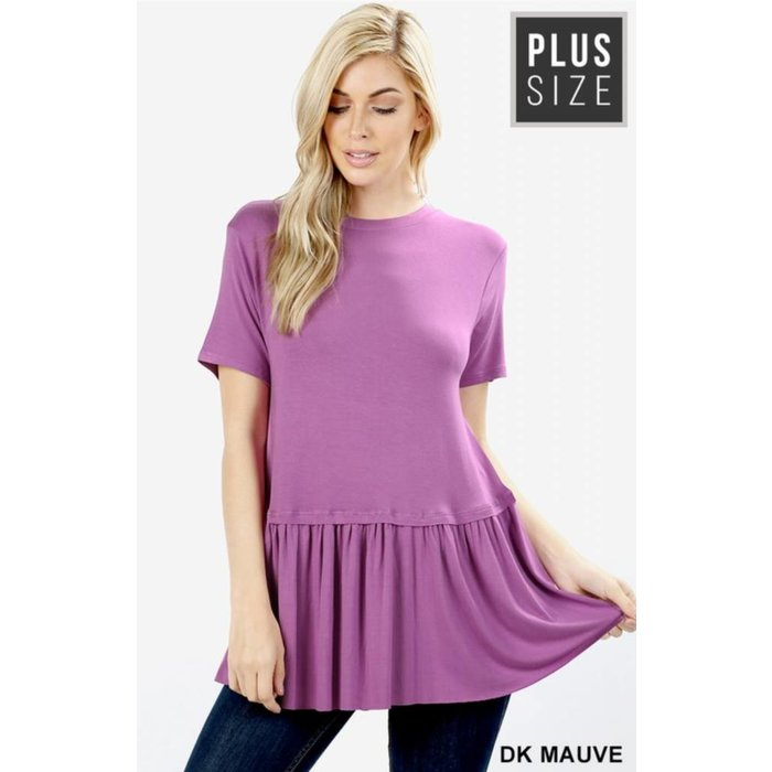 PLUS Dark Mauve Ruffle Bottom Top
