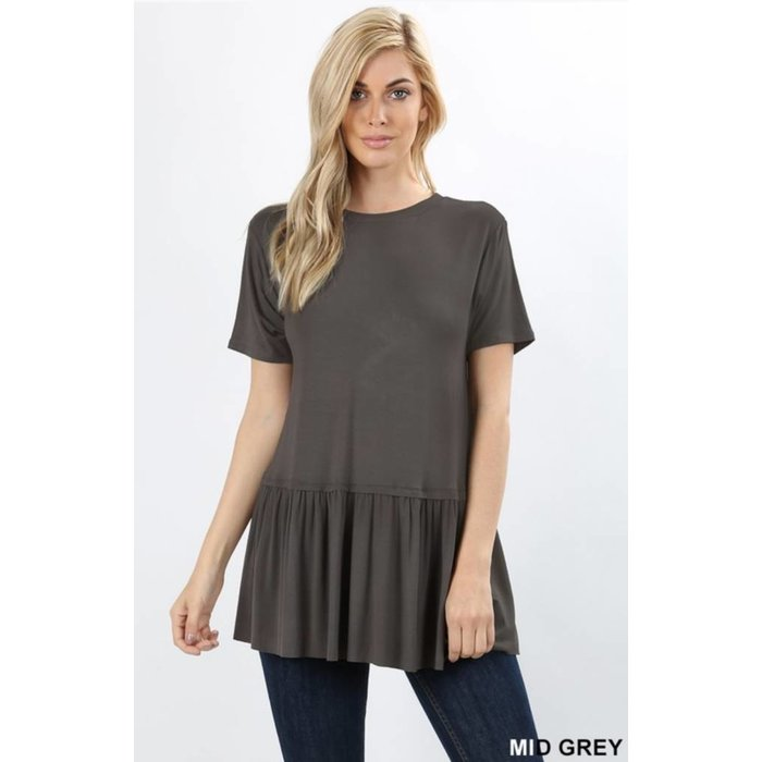 PLUS Mid Grey Ruffle Bottom Top
