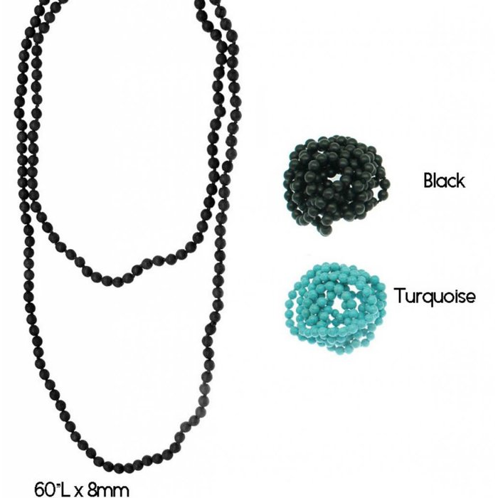 """60"""" Turquoise Howlite Long Necklace"""