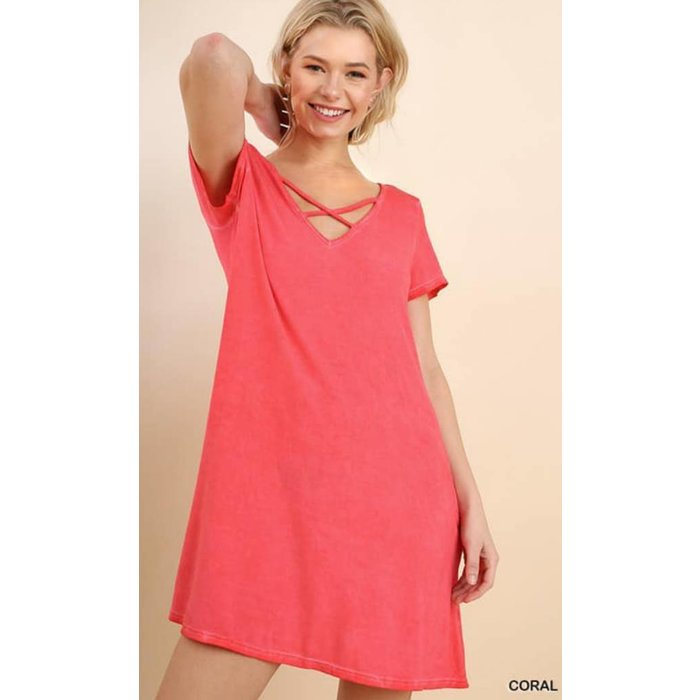 Coral Criss Cross Pocket Dress