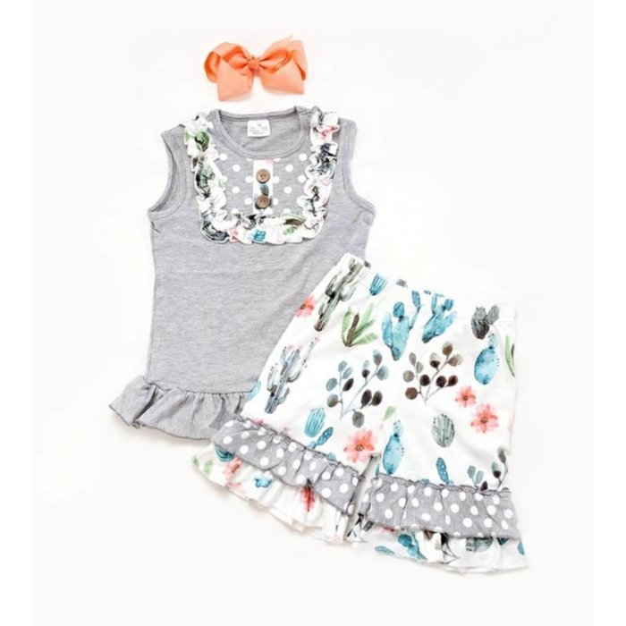Kids Ruffle Cactus 2-Piece Short Set
