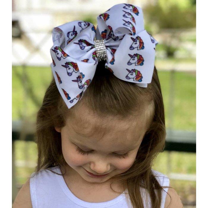 Unicorn Hair Bow with Rhinestones