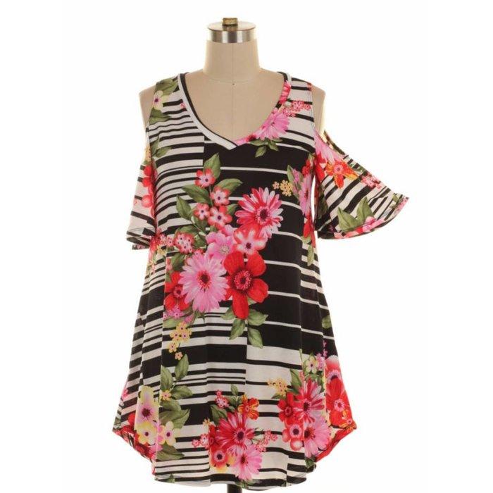 Cold Shoulder Striped Floral Top w/Pockets