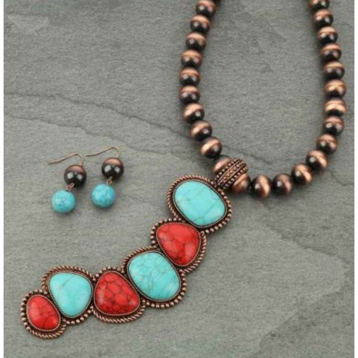 6 Stone Bronze Red & Turquoise Necklace Set