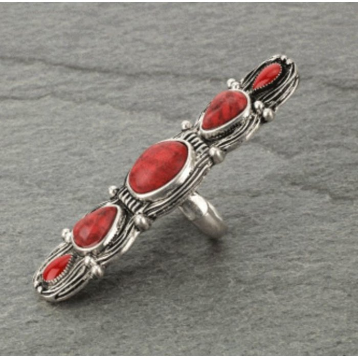 Long Bali Statement Red Stretch Ring