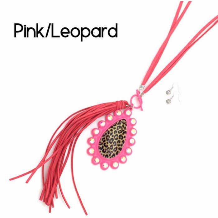 Long Pink Tassel Neckace with Leopard AB Teardrop