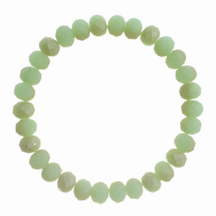 Matte Green Stretch Crystal Bracelet