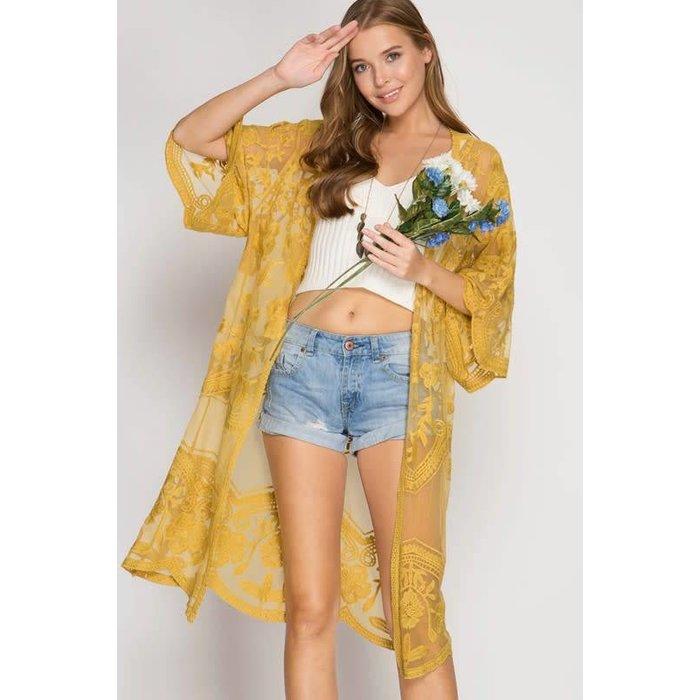 Mustard Lace Long Kimono