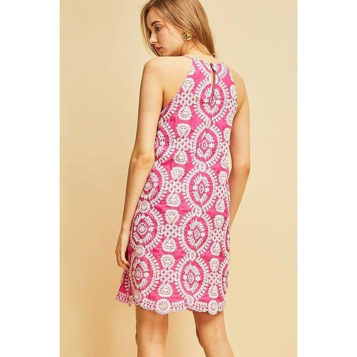 Fuchsia Embroidered Dress