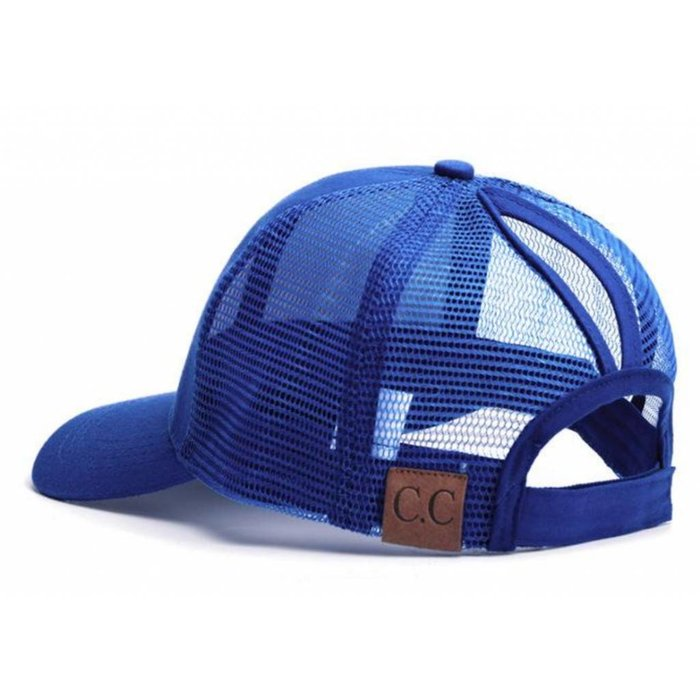Royal Blue Plain Ponytail Cap