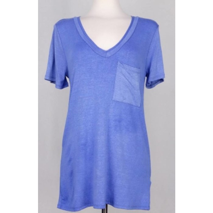 Blue Solid Short Sleeved V-Necked Top